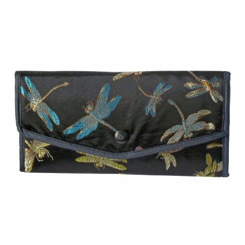 2 Brocade Wallets - Check Book Holder - Black Dragonfly Pattern