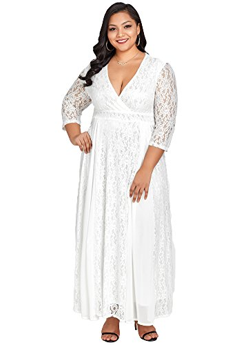 Jose Pally Women's Plus Size Lace Maxi Dress V Neck 3/4 Sleeve Floral Wedding Gown with Lining by Jose Pally
