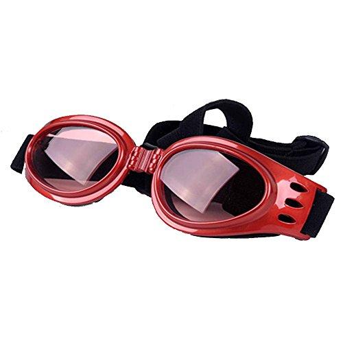 Dog Sunglasses, Doggy Goggles, Kromi Foldable UV Protection Doggie Dog Motorcycle Goggles Eyewear Pet Sunglasses for Small Medium Large Dogs (Red, - Dog Dirty Polarized Sunglasses