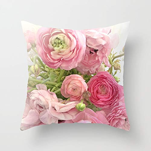Rdsfhsp Shabby Chic Cottage Ranunculus Peonies Roses Floral Print Cushion Covers Throw Pillow Covers For Decorating Sofa Car Bedroom Etc Or Gifts Cotton 18x18 In ()