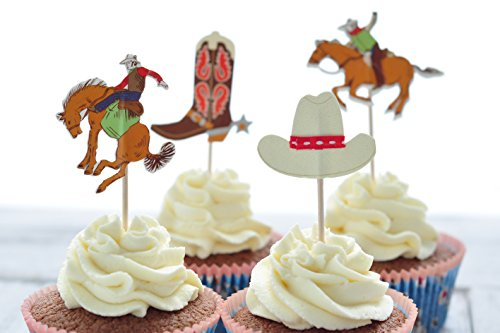 BeBeFun Cupcake Decorative Toppers Cowboys Shape Cupcake Decorating Tools for Party Supplies 24 Pieces in Pack.(Cowboys)