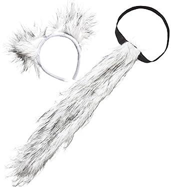Megajumble Deluxe Grey Furry Werewolf Tail Ears Adult Unisex Wild
