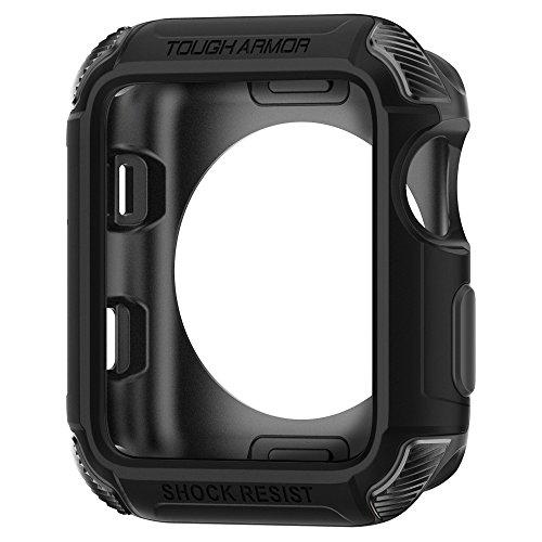 Spigen Tough Armor [2nd Generation] Designed for Apple Watch Case for 42mm Series 3 / Series 2 / Series 1 - Black (Case Black Series Armor)
