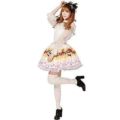 Hugme Yellow Polyester Lace Cake-printed Lolita Skirt