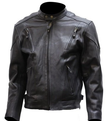 Big Mens Vented Leather Motorcycle Jacket (Size 4XL, (Big Tall Motorcycle Jacket)