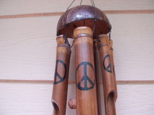 - Bamboo Painted Peace Sign and Coconut Top Wind Chimes
