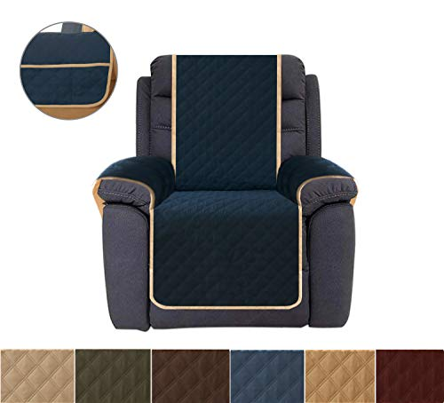 Sofa Cover, Reversible Quilted Furniture Protector, Ideal Recliner Slipcovers for Pets & Children, Water Resistant, Will Keep your Couch Stain, Dirt & Scratches-Free | Ultrasonic Oblique Grid Navy