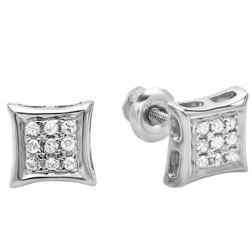 Dazzlingrock Collection 0.10 Carat (ctw) 10K Real Diamond Kite Shape Mens Hip Hop Iced Stud Earrings 1/10 CT, White Gold ()