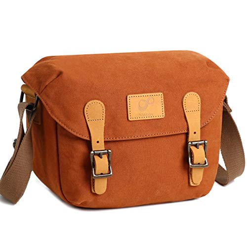 Small Camera Bag SLR/DSLR Shoulder Bag Canvas Removable Inserts Messenger Bag Waterproof Digital Camera for Sony, Canon, Olympus Orange