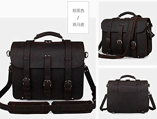 Shengjuanfeng Mens Shoulder Bags Leather Retro Crazy Horse Leather Tote Bag Domineering Bags for Travel Color : Brown Black