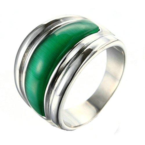 Epinki Jewelry Stainless Steel Vintage Punk Rock Men Silver Mosaic Green Opale Ring 2CM Size 10