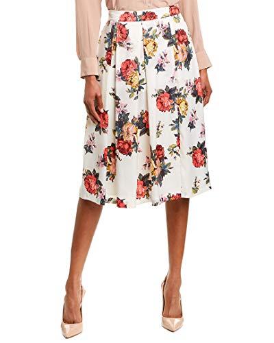 Tahari ASL Women's Inverted MIDI Pleat Skirt, Rose Multi, 16