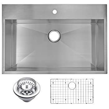 """Water Creation SSSG-TS-3322A 33"""" X 22"""" Zero Radius Single Bowl Stainless Steel Hand Made Drop In Kitchen Sink With Drain, Strainer, And Bottom Grid Premium Scratch Resistant Satin Stainless Steel"""