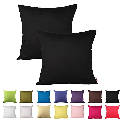 Queenie - 2 Pcs Solid Color Cotton Decorative Pillowcase Cushion Cover for Sofa Throw Pillow Case Available in 14 Colors & 5 Sizes (18 X 18 Inch (45 X 45 Cm), Black)