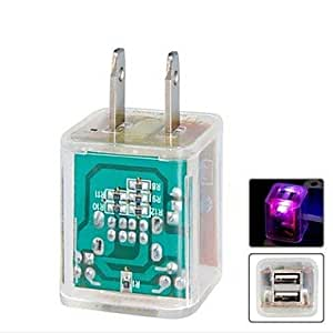 Tqie Crystal US Plug Dual-port USB Travel Wall Charger with Colorful LED Flashing for iPhone 5 and Others , Transparent