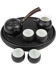Black porcelain kung fu tea set teapot ceramic tea tray set home
