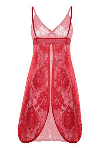 Dress Lace Red Push up Babydoll 3 Babydoll Babydoll perizoma con Night Lingerie zwqE674Rv