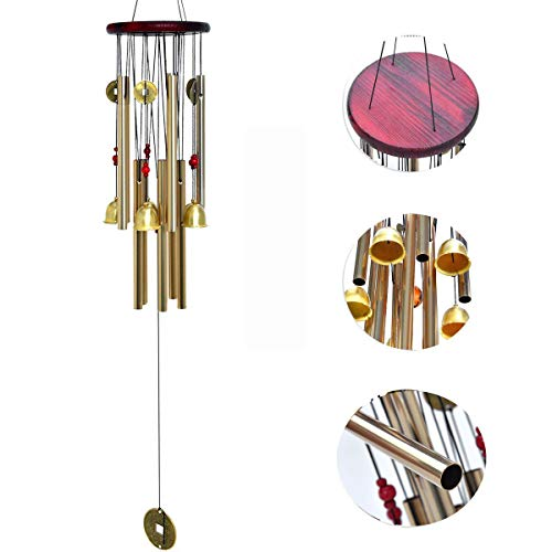 Bronze Bell Garden (Bwinka Chinese Traditional Amazing 10 Tubes 5 Bells Bronze Yard Garden Outdoor Living Wind Chimes 85cm)