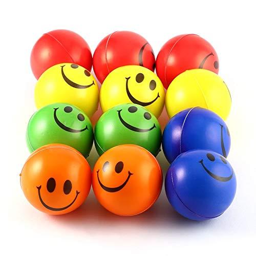 12PCS Sonrisa Cara Aliviar el Estré s Esponja Bolas de Espuma Mano Fuerza Squeeze Ball Niñ os Adultos Ejercicio de la Mano Bolas de Juguete Juguetes del Partido Silverxiel