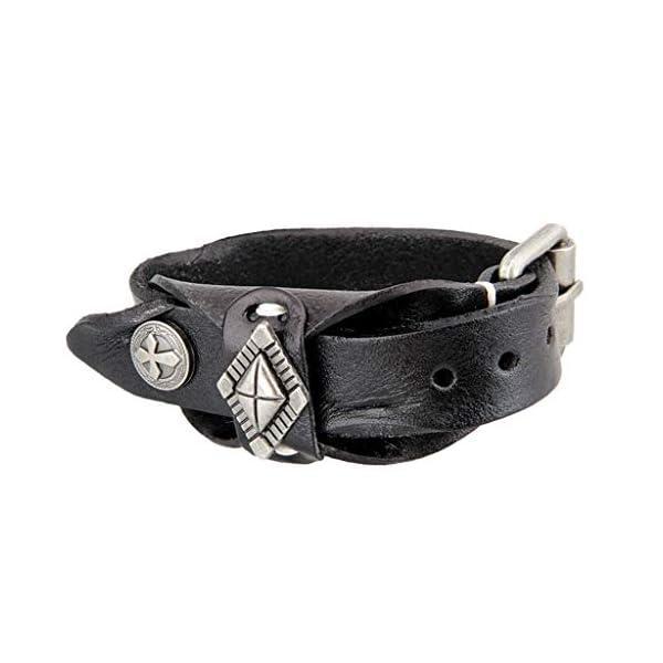 CUTICATE Gothic Steampunk PU Wristband Leather Bracelet Bangle Mens Biker Accessories 5