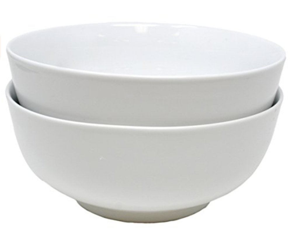 Bright White Porcelain Pho Bowls (7.5 inches) Set of 2