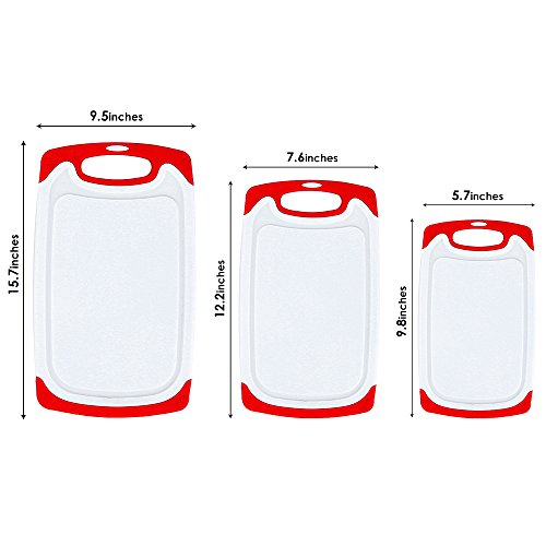 Plastic Cutting Board, 3 Packs Chopping Board with Food Grade PP Anti-Microbial and Deep Drip Juice Groove for Kitchen Tool-Red by JOSHNESE (Image #6)'