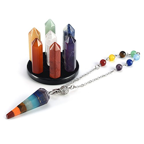 QGEM Chakra Healing Kit, Seven Star Group Crystal Points Wands on Obsidian Stand and Chakra Pendulum Dowsing #3 ()