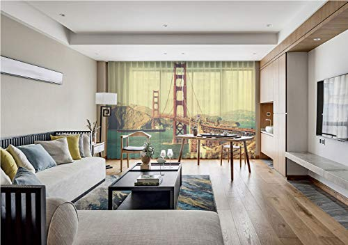 iPrint Sheer Voile Curtains,Vintage,Old Film Featured Golden Gate Bridge Suspension Urban Path Construction Scenery,Blue Brown,for Living Room,75 by 108 Inch(Set of 2 Panels)