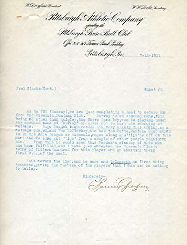 BARNEY DREYFUSS JSA Autograph Rare Historical Letter To Fred Clarke Signed from KHW HALL OF FAME GALLERY