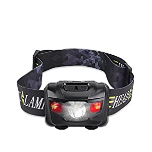 Ultra Bright 160 Lumen CREE LED Headlamp Flashlight, with Red Lights, Waterproof Head Lights for Kids and Adults Camping, Running, Batteries Included, Black
