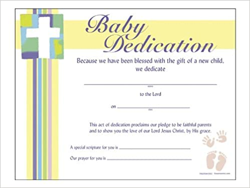 Certificate Baby Dedication Pk6: Swanson Christian Products: 0788200443062:  Amazon.com: Books
