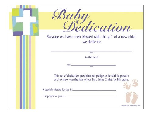 Certificate Baby Dedication Pk Swanson Christian Products