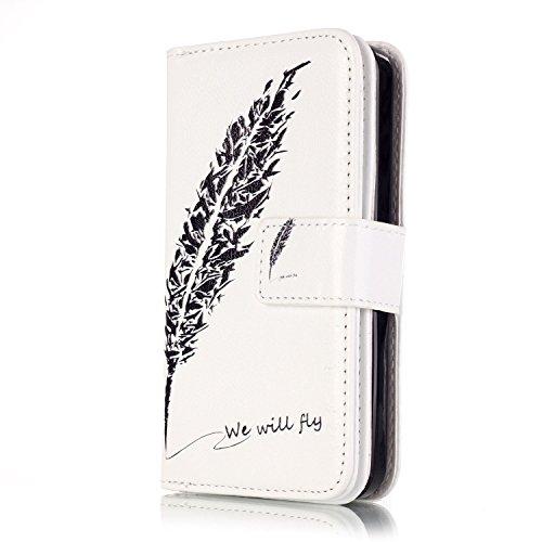 Voguecase® für Apple iPhone 5C hülle, Kunstleder Tasche PU Schutzhülle Tasche Leder Brieftasche Hülle Case Cover (Schwarz Feder 05) + Gratis Universal Eingabestift