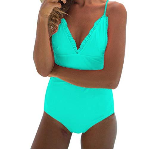URIBAKE 2019 Women Backless Monokini Solid Push-Up Padded Bra Ruffles Swimwear Bathing Suit Beachwear Green -