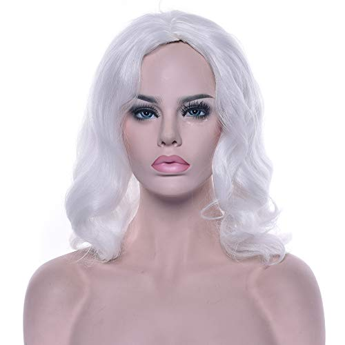 yaning Santa Claus Wig and Beard Synthetic Hair Short White Cosplay Wigs Hairpiece for -