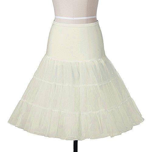 Half Vintage Slip (Lidory Ridory Womens Petticoat 1950s Vintage Skirts Crinoline Underskirt Slip Tutu (S, Ivory))
