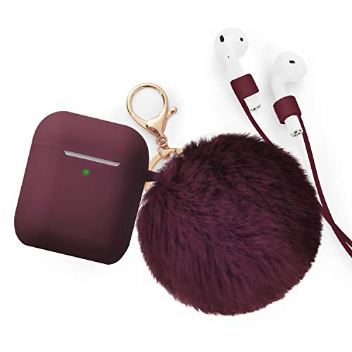 for Airpods Case - BlUEWIND Drop Proof Air Pods Protective Case Cover Silicone Skin for Apple Airpods 2 & 1 Charging Case, Cute Fur Ball Airpods Keychain/Strap, Burgundy