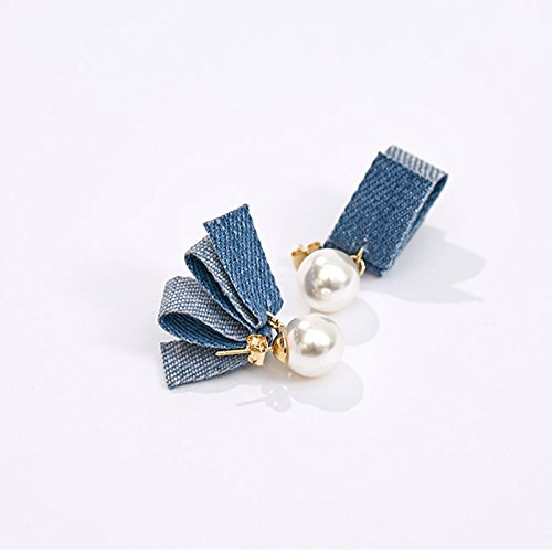 spring and summer 2018 fashion jewelry women girls pearl earrings earrings earrings earring blue denim ()