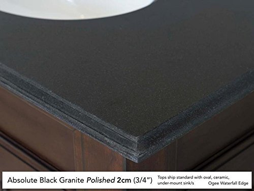 Absolute Black Granite Countertops - Providence 60 Driftwood Double Vanity with Absolute Black Rustic Stone Top