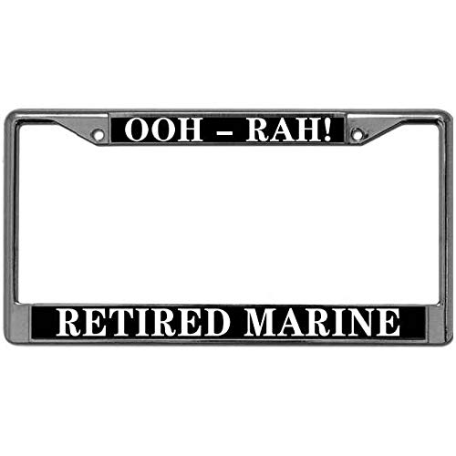 (Ooh-Rah Retired Marine Metal License Plate Black Metal Frame Premium Quality Metal License Plate Frame Holders US Screws Marine Corps License Plate Frame )