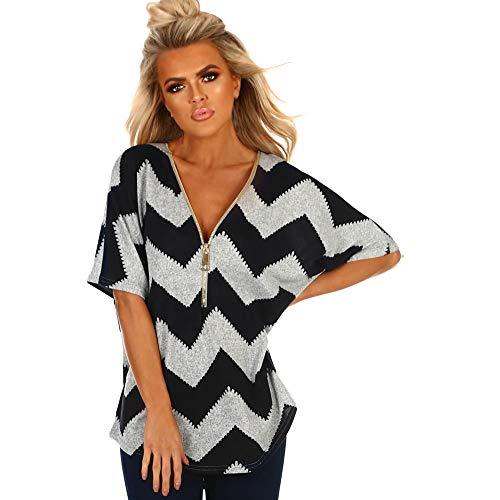 d9cdb42b047b Sumen women Blouses Zip V-Neck Short Sleeve Casual Top Summer Loose T  Shirts (