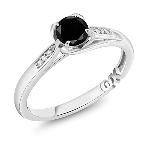 Gem Stone King 10K White Gold 0.59 Ct Round Black Diamond and Diamond Engagement Ring (Size 7) (Engagement Ring Pink Black)