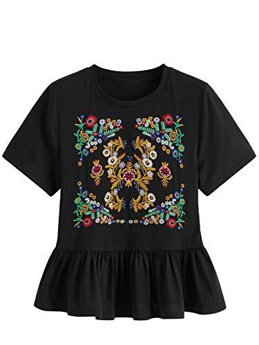 - Floerns Women's Short Sleeve Embroidered Ruffle Hem Babydoll Peplum Blouse Top Black M