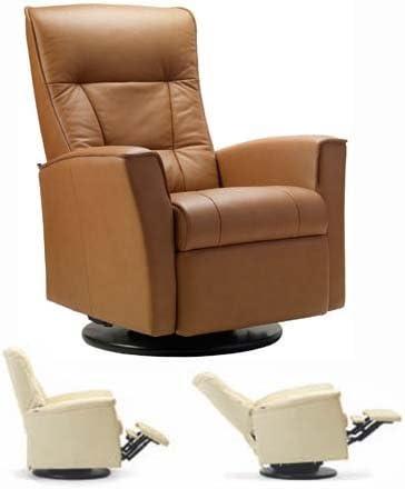Fjords Ulstein Swing Relaxer Recliner Norwegian Ergonomic Scandinavian Lounge Anti-Gravity Reclining Chair Furniture Nordic Line Dark Brown Havana Genuine Leather by Hjellegjerde
