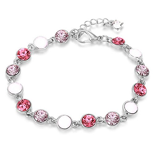 RIZILIA Adjustable Tennis Bracelet & Round Cut Crystal [Simulated Pink Sapphire] in White Gold Plated, Simple Modern Elegant