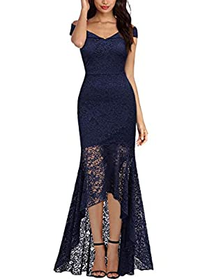 Miusol Women's Vintage Off Shoulder Floral Lace Evening Cocktail Maxi Dress