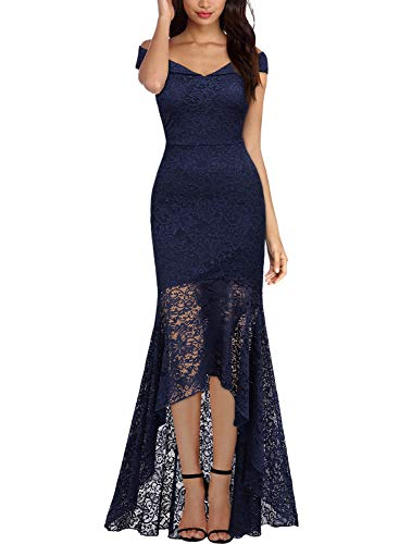Miusol Women's Vintage Off Shoulder Floral Lace Evening Cocktail Maxi Dress (Medium, A-Navy Blue)