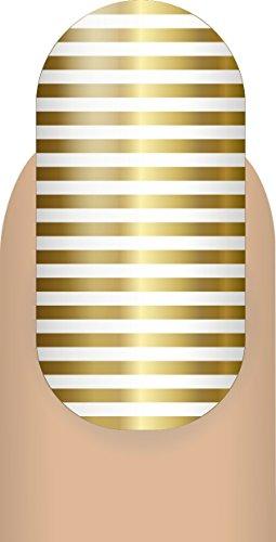 Mani Wraps Salon Quality Nail Wraps, Thin Lines, Metallic (Gold Foil Lines)
