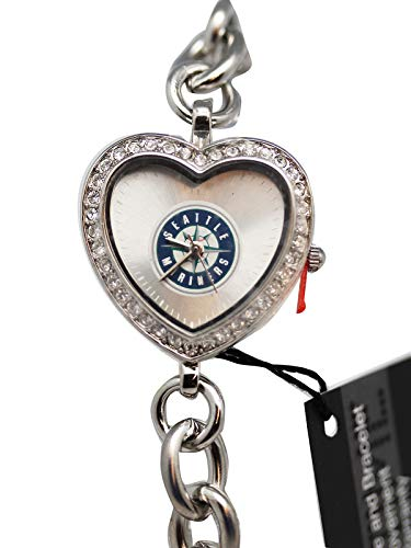 (Seattle Mariners Game Time Heart Shaped Dial Bracelet Watch)