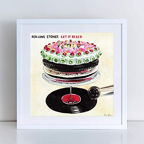 The Rolling Stones Art Print Watercolor Painting Wall Home Decor Let It Bleed Album Mick Jagger Poster Classic Vinyl Classic Rock Collectible British Canvas Gift Unframed (Unframed Vinyl)
